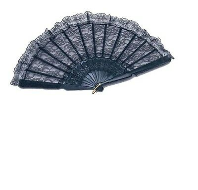 Black Hand Held Folding Lace Fan, Plastic & Lace, Period, Costume, Accessory