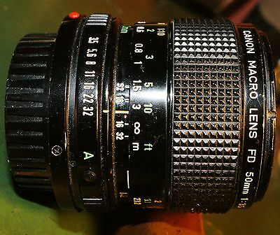 Canon FD 50mm F3.5 Macro Lens 1:1 magnification FD mount - Adapters available