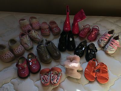 Lot Of Baby Girl Shoes (13 Pairs) Children's Place, Crocs, Sizes 1- 5