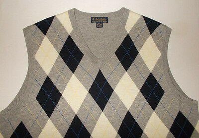 Men's Brooks Brothers 100% Merino Wool Argyle Sweater Vest-Size 2XL