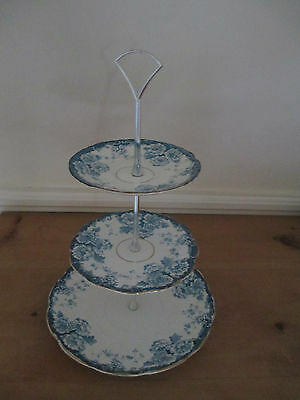 Viintage 3 tier cake stand: blue and white floral pattern