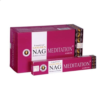 Golden Nag Meditation Agarbathi Incense Pack Of 12 - 930528