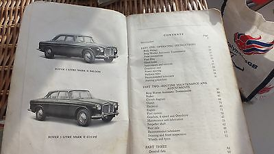 Rover 3 Litre  mark  2 Owners Instruction Manual (Handbook) 1962