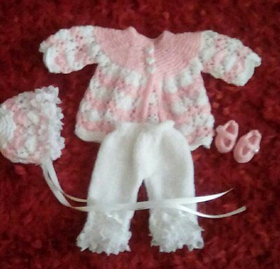 Gorgeous Hand Knitted Set To Fit 14 /16 doll