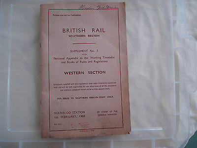 British Rail Southern Region Western Section supplement No3  Sectional Appendix