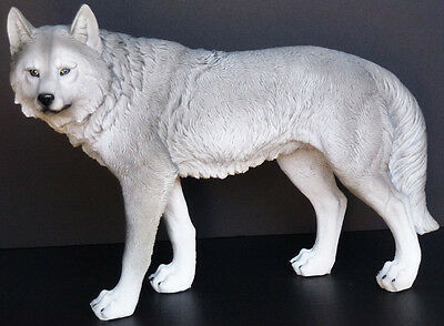 "GRAY MIST  Large Standing Wolf  Statue Figurine  H9.5"" x L17"""