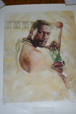 BILL RUSSELL LITHOGRAPH BOSTON CELTICS SIGNED Doug West Poster Print # 305/500