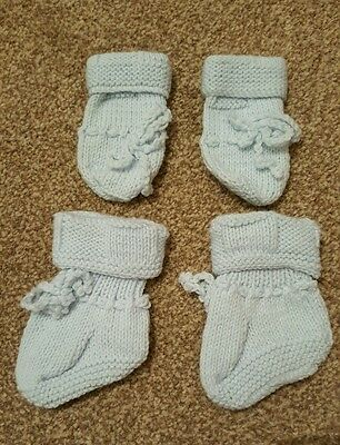 Blue Pair of mittens and pair of booties handmade knitted & NEW