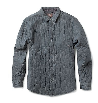 Fourstar Chambray Quilted Shirt Men's long-sleeved Blue Shirt - Large