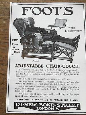 Antique 1911 Print Advertisement Advertising Foots Adjustable Chair Couch London