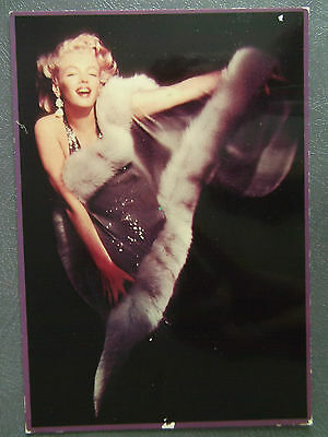 80s Postcard - Marilyn Monroe 1957 colour in shiny dress and furs