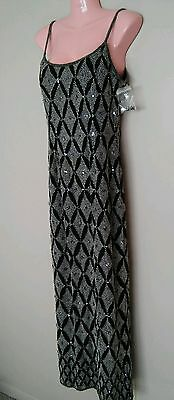 PAPELL BOUTIQUE 100% Silk Beaded Sequined Evening Formal Dress Size 6 Small NEW!