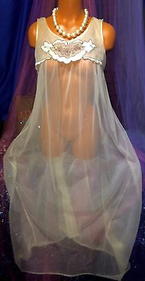 Vintage Ivory Long Peignoir Sweep Nylon Gown Sheer Embroidered Chiffon S M L