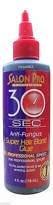 Salon Pro 30 Sec Anti Fungus Super Hair Bond Glue 4 oz - Black