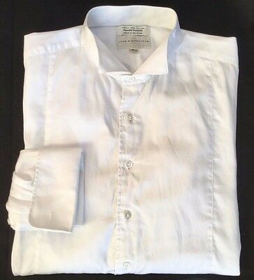 John W. Nordstrom Mens White Cotton Broadcloth Wing Tip Tuxedo Shirt Collar 17""