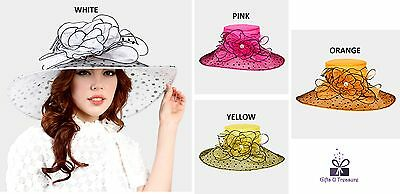 Women's Wide Polka Dot Brim Organza Hat Wedding Church Derby Formal - USA Seller