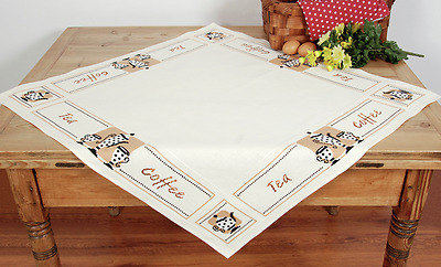 Vervaco Tablecloth kit Tea and Coffee printed for cross stitch 80 x 80 cm
