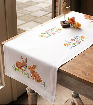 Vervaco Table runner kit Daffodils and Bunnies for embroidery cross stitch