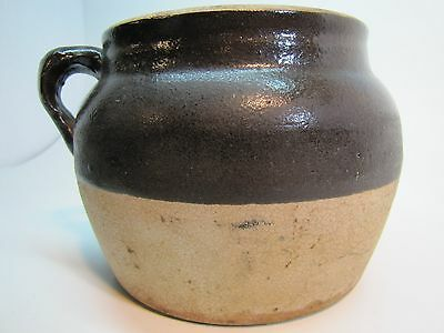 Old Stoneware Pottery Bean Crock Two Tone Brown White/Cream large pot handle