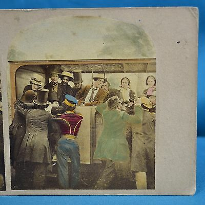 Late 1850s Hand Tinted Genre Stereoview Derby Day Alfred Silvester Settling Day