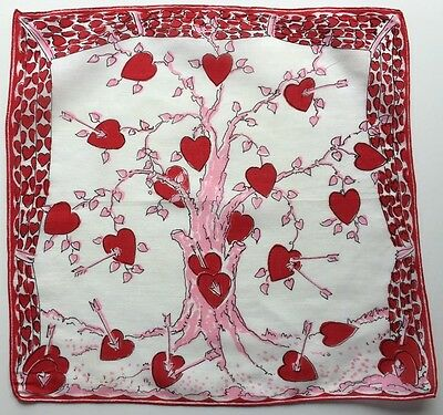 Vintage Valentines Hankie-Tree and Heart with Arrows