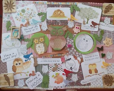 owl themed card making kit #2 . craft room clearout,