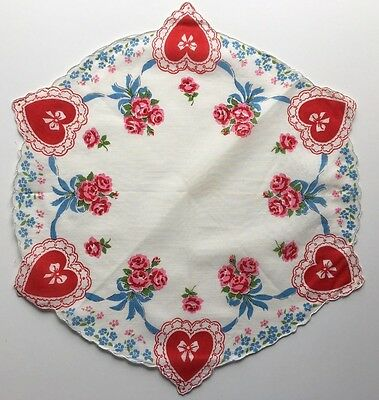 Vintage Valentines Hankie-Circular Shaped with Pink Flower and Blue Ribbon