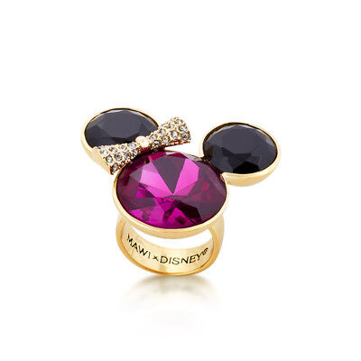 Disney Couture Official Minnie Mouse Rocks Gold-Plated Pink Crystal Bow Ring