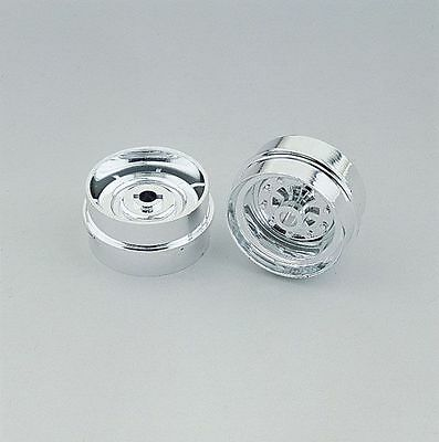 Wedico 1/16th Front Chromed Truck Wheels for wide tyres. 1pr