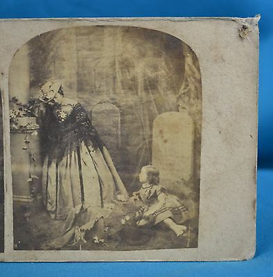 Late 1850s Genre Stereoview The Mother's Grave