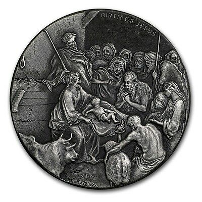 THE BIRTH OF JESUS - THE NATIVITY - 2016 2 oz Silver Coin - Biblical Series NIUE