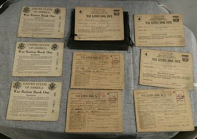 Vintage Lot of USA War Ration Books In Black Wallet Book One, Three & Four