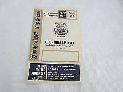 1966-67 CENTRAL LEAGUE RESERVES LEEDS UNITED v ASTON VILLA