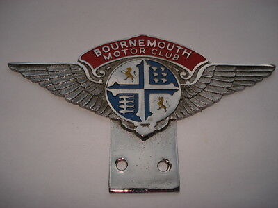 C1950S Vintage Bournemouth Motor Club Enamel Car Badge