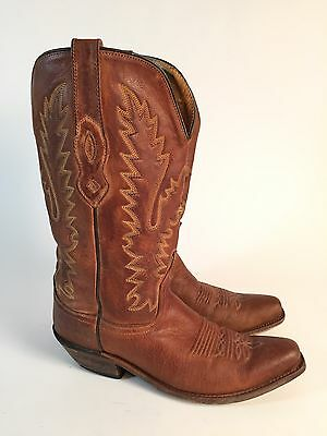 Vintage OLD WEST (7.5) Leather Tan Brown Cowboy Western Boots Women's Sz 7.5 M