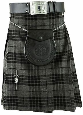 New Scottish Highland Grey Black Men'sTraditional TARTAN KILT
