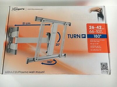 Vogel's THIN 245 UltraThin WHITE Support mural orientable TV de 66cm à107cm NEUF