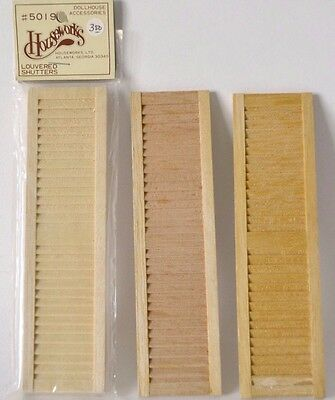 Miniature window shutter Houseworks #5019 louvered shutter pack 2 + 2 1/12 Scale