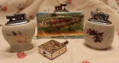 lot of 3 vintage cigarette lighters and 1 personal ashtray