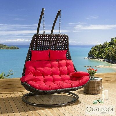 Outdoor Rattan 2 Person Garden Hanging Chair / Sunbed Black / Red New
