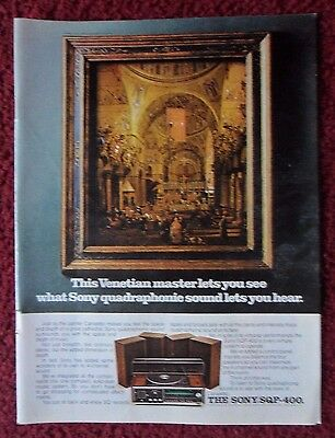 1973 Print Ad SONY SQP-400 Quad Sound Stereo System ~ Venitian Painter CANALETTO