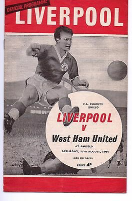 Liverpool V West Ham United Official Programme 1964 Fa Charity Shield