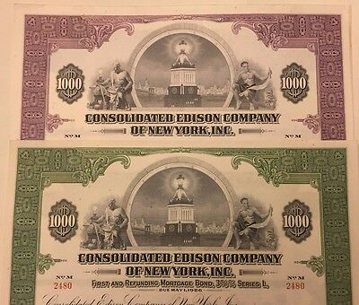 Pair of 2 Diff. 1950 Consolidated Edison Co. of New York $1000 Bond Certificates