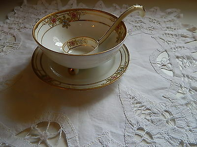Vintage Nippon Soup or Rice Footed Bowl Matching Plate and Spoon Cream Gold Trim