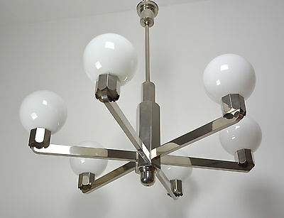 Grosse Bauhaus Art Deco Deckenlampe Nickel