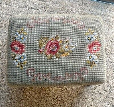 Victorian Antique Vintage Floral Needlepoint Foot Stool Carved Wood Ottoman RARE