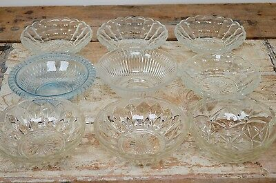 9 Job Lot Clearance Pressed Crystal Glass Dishes Bowls Wedding Sweets