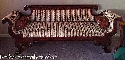 Beautiful Classical Carved Antique Empire Mahogany Sofa