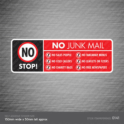 Stop Cold Calling Letter Box Sticker Religious Groups No Canvassers Callers Sign