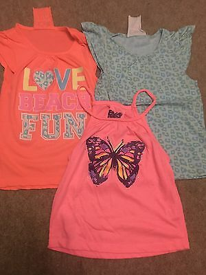 3 X Girls Tops Size 7-8 Years T-shirt Vest Tops